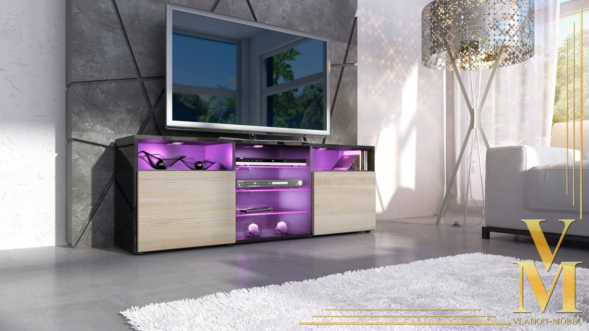 tv lowboard board schrank m bel regal granada in schwarz. Black Bedroom Furniture Sets. Home Design Ideas