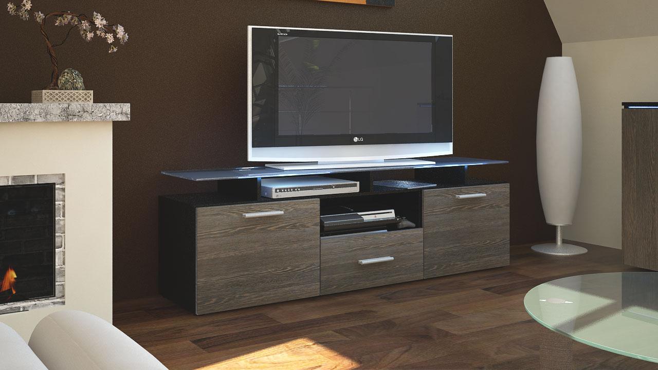 tv lowboard board schrank tisch almada in schwarz matt hochglanz naturt ne ebay. Black Bedroom Furniture Sets. Home Design Ideas