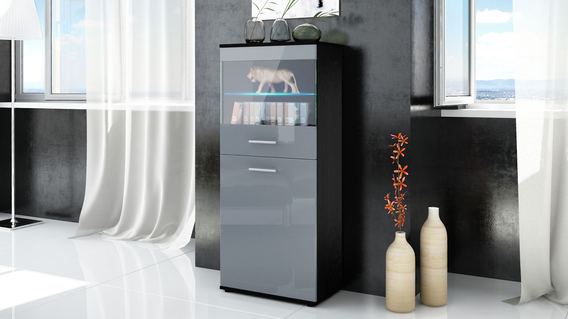 vitrine standvitrine highboard hochschrank almada schwarz hochglanz naturt ne ebay. Black Bedroom Furniture Sets. Home Design Ideas