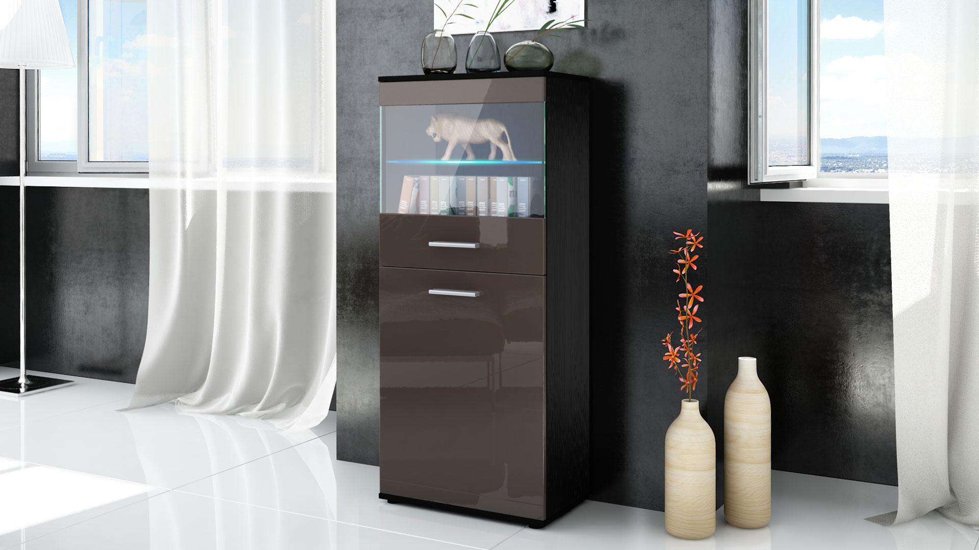 vitrine standvitrine highboard hochschrank almada schwarz. Black Bedroom Furniture Sets. Home Design Ideas