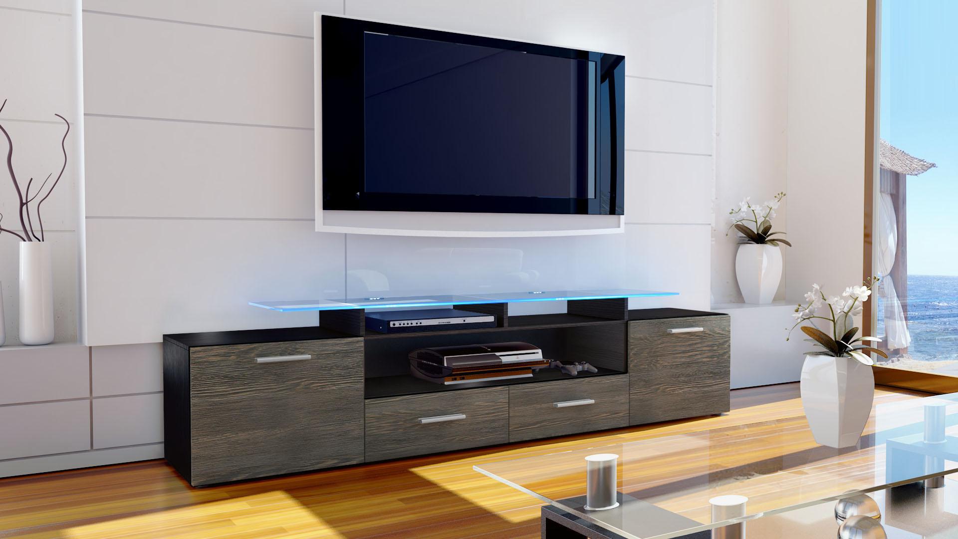 tv lowboard board schrank m bel fernseh regal tisch almada v2 schwarz hochglanz ebay. Black Bedroom Furniture Sets. Home Design Ideas