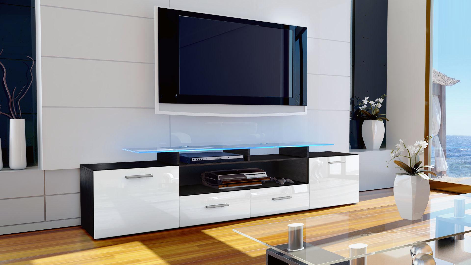 Armoire basse meuble tv almada v2 en noir fa ades en for Meuble tv armoire