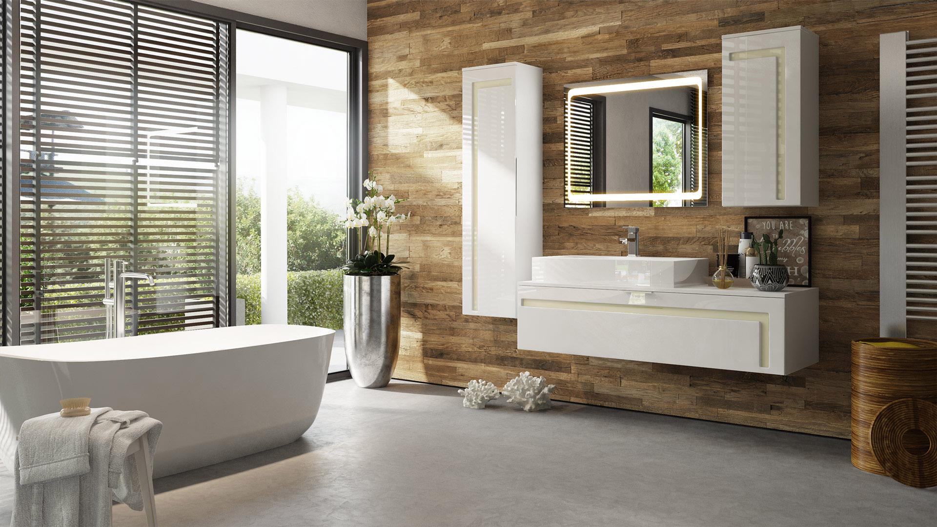 badm belset front wei gl nzend m bel badezimmer spiegel led hochglanz aloha ebay. Black Bedroom Furniture Sets. Home Design Ideas