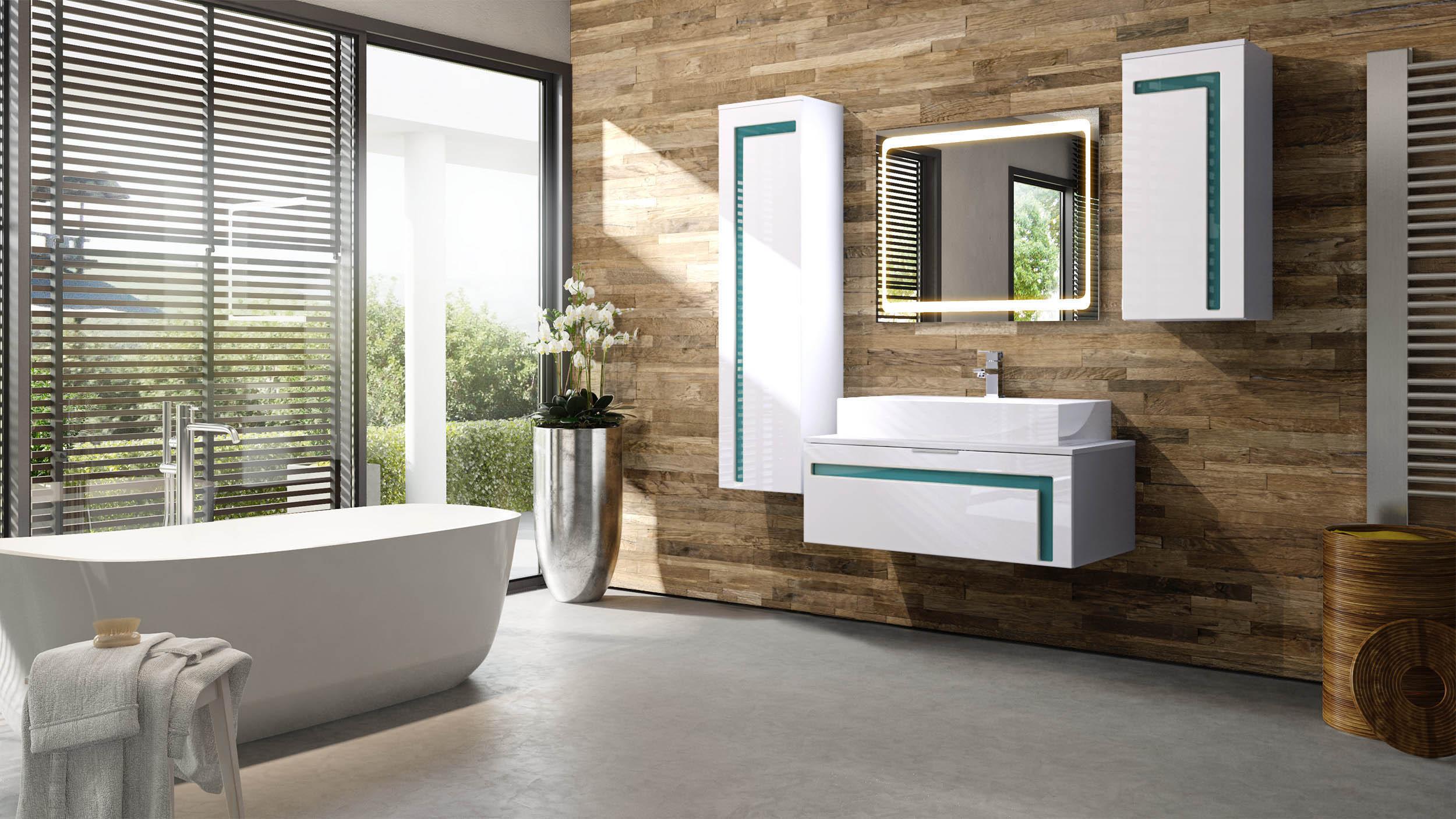 Salle de bain armoire lavabo meuble sous vasque miroir led - Meuble sous vasque de salle de bain ...