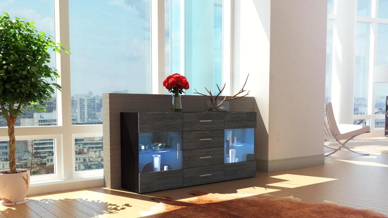 sideboard kommode tv board anrichte bari schwarz in. Black Bedroom Furniture Sets. Home Design Ideas