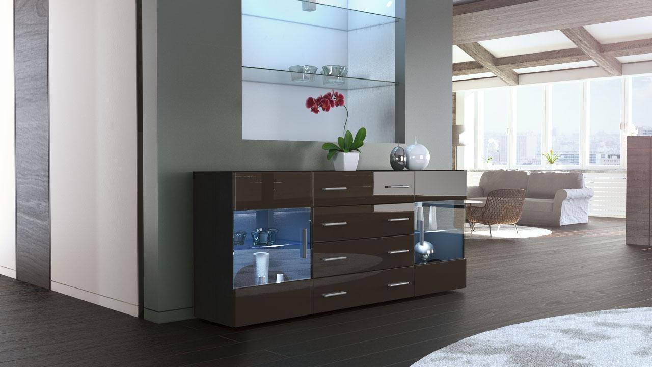 sideboard kommode highboard 170cm schrank anrichte bari v2 schwarz hochglanz ebay. Black Bedroom Furniture Sets. Home Design Ideas