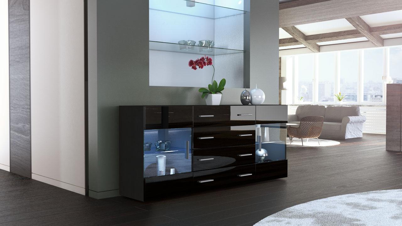 sideboard kommode highboard 170cm schrank anrichte bari v2. Black Bedroom Furniture Sets. Home Design Ideas