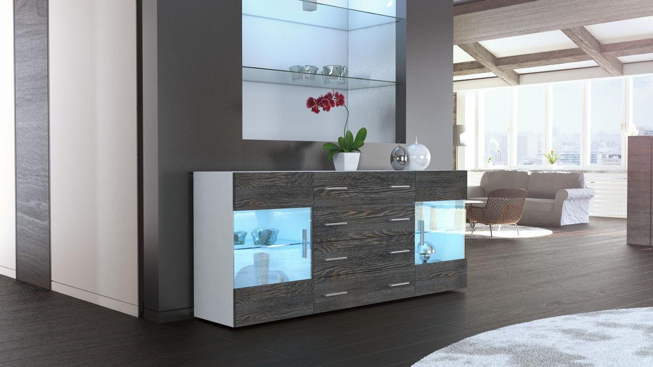 sideboard kommode tv board vitrine anrichte bari v2 wei hochglanz naturt ne ebay. Black Bedroom Furniture Sets. Home Design Ideas