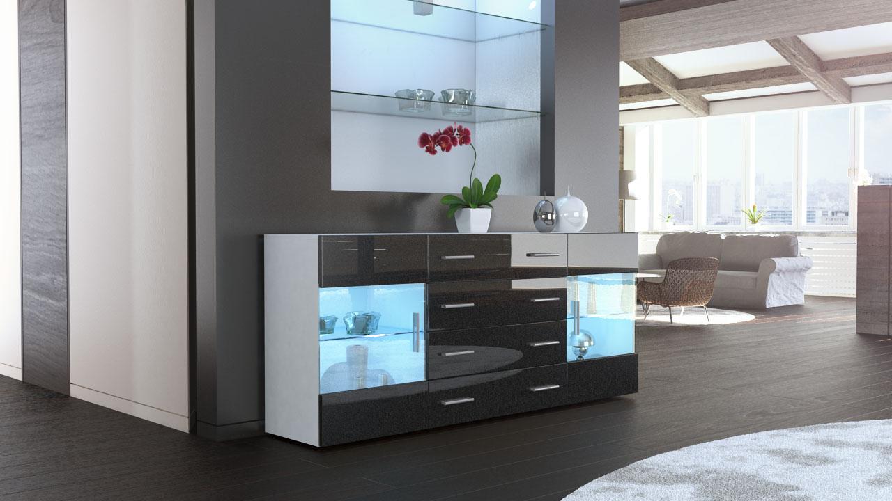 tv sideboard wei hochglanz excellent best beautiful free tvlowboard highgloss video luci wei. Black Bedroom Furniture Sets. Home Design Ideas