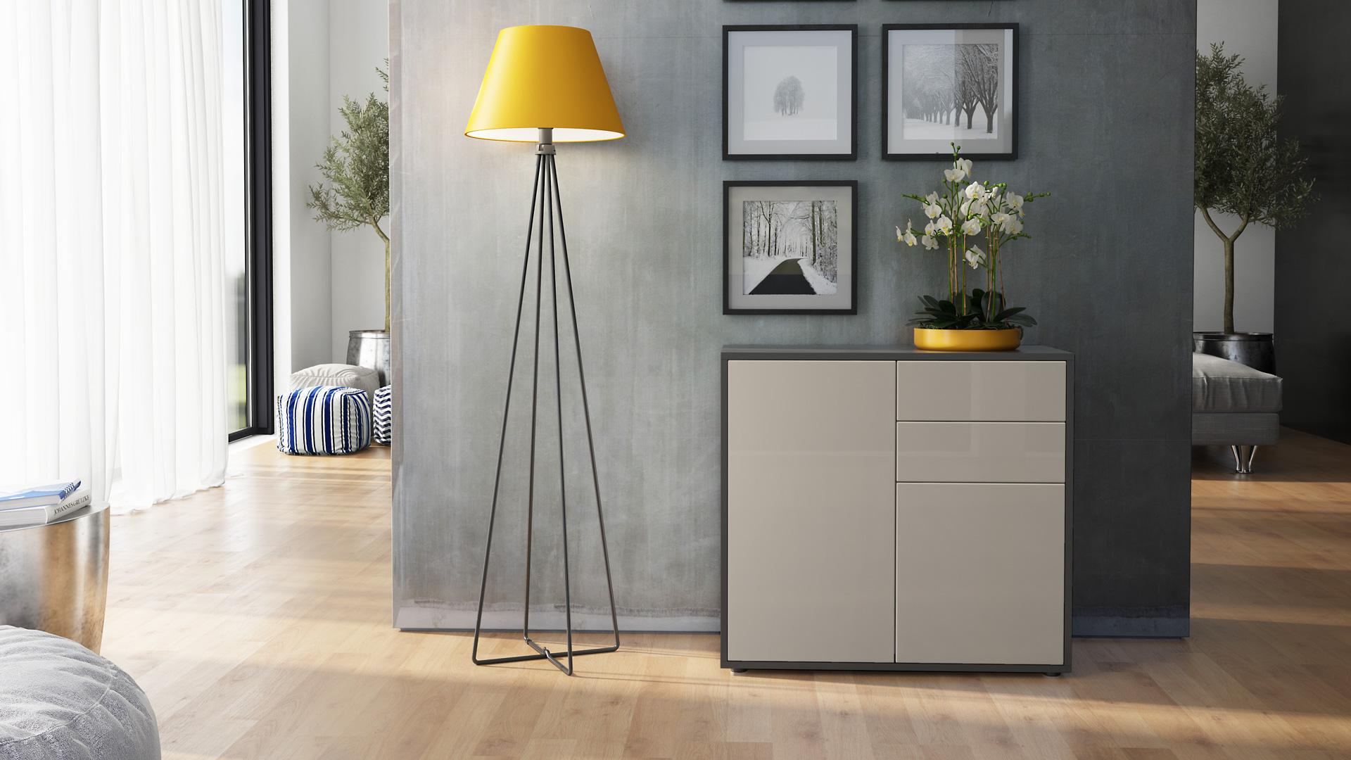 chest of drawers cabinet storage unit ben in black high gloss natural tones ebay. Black Bedroom Furniture Sets. Home Design Ideas