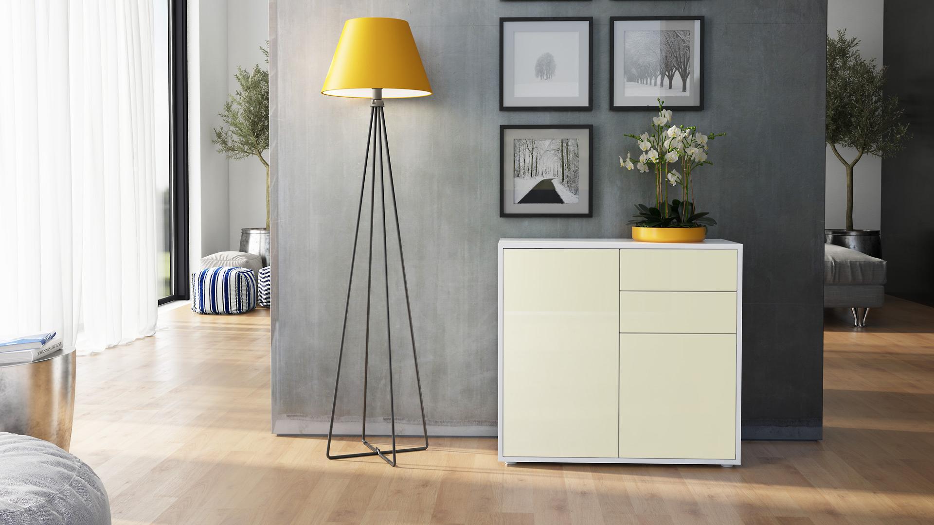 kommode sideboard anrichte schrank ben in wei hochglanz und naturt ne ebay. Black Bedroom Furniture Sets. Home Design Ideas