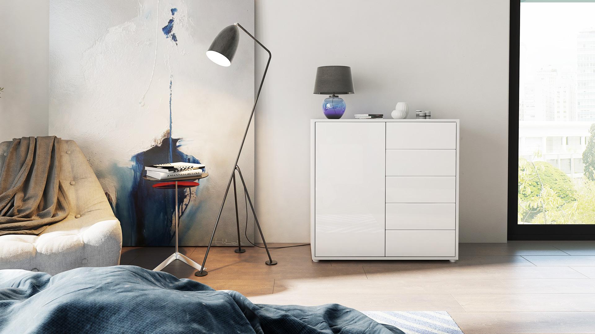 kommode sideboard anrichte schrank ben v2 in wei hochglanz und naturt ne ebay. Black Bedroom Furniture Sets. Home Design Ideas