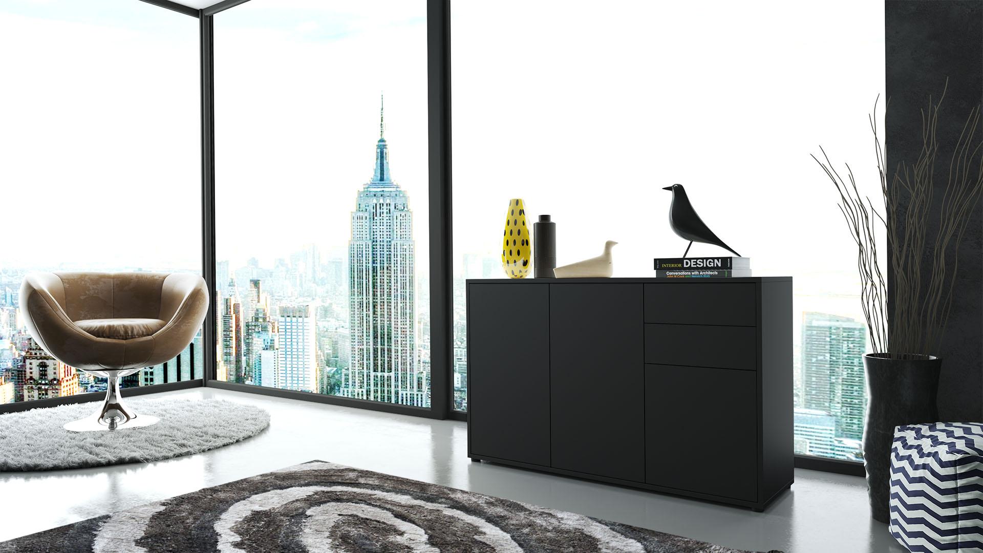 kommode sideboard anrichte schrank ben v3 in schwarz hochglanz und naturt ne ebay. Black Bedroom Furniture Sets. Home Design Ideas