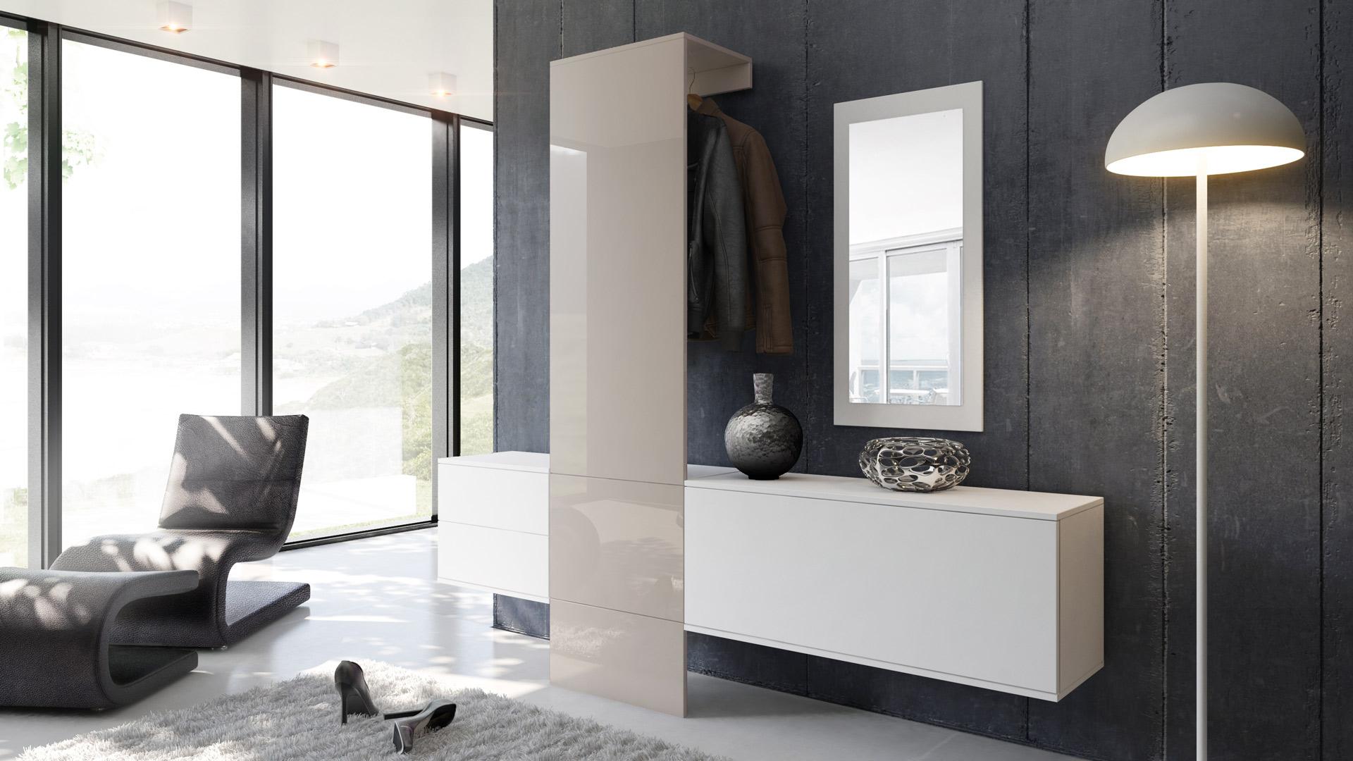 garderobenset flur garderobe diele carlton set 1 in wei. Black Bedroom Furniture Sets. Home Design Ideas
