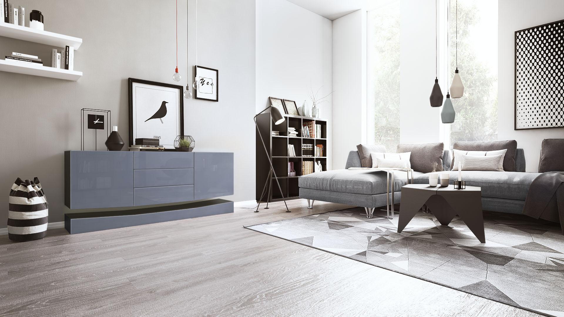 sideboard tv board anrichte kommode city in schwarz hochglanz naturt ne ebay. Black Bedroom Furniture Sets. Home Design Ideas