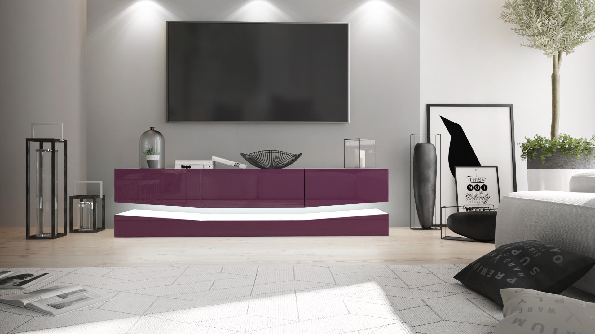 tv lowboard board schrank tisch m bel city wei hochglanz naturt ne ebay. Black Bedroom Furniture Sets. Home Design Ideas