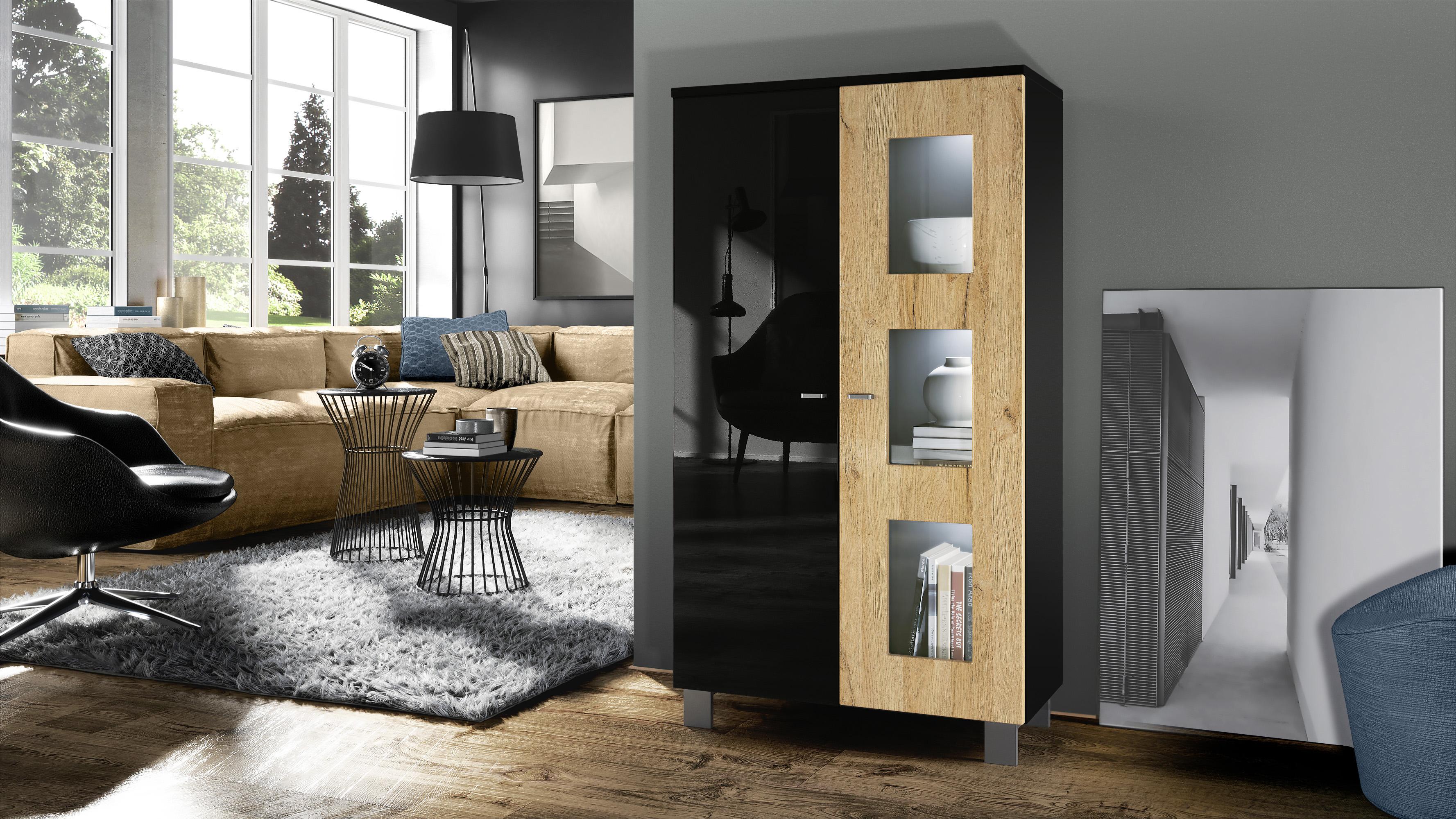 vitrine standvitrine kommode hochschrank sideboard denjo in schwarz ebay. Black Bedroom Furniture Sets. Home Design Ideas