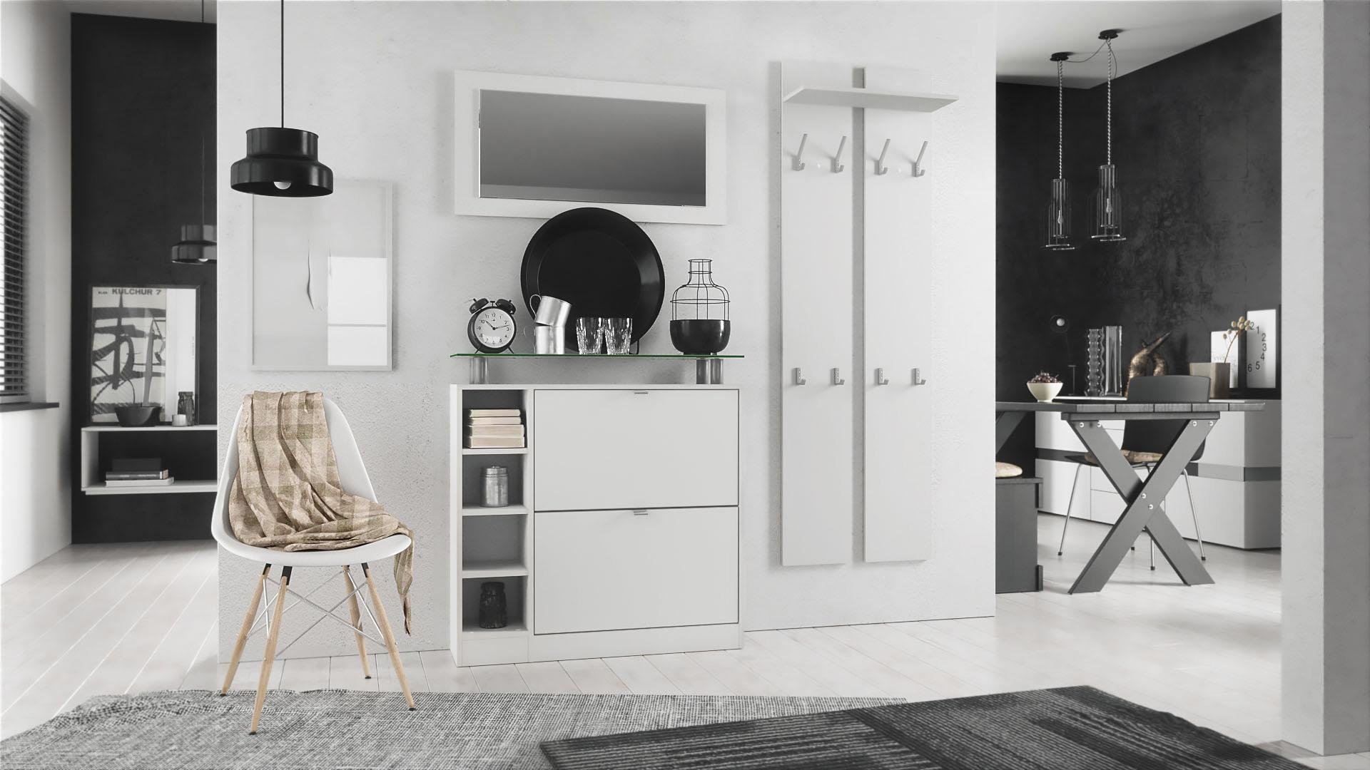 garderobenset flur set garderobe diele schuhschrank paneel spiegel dolly in wei ebay. Black Bedroom Furniture Sets. Home Design Ideas