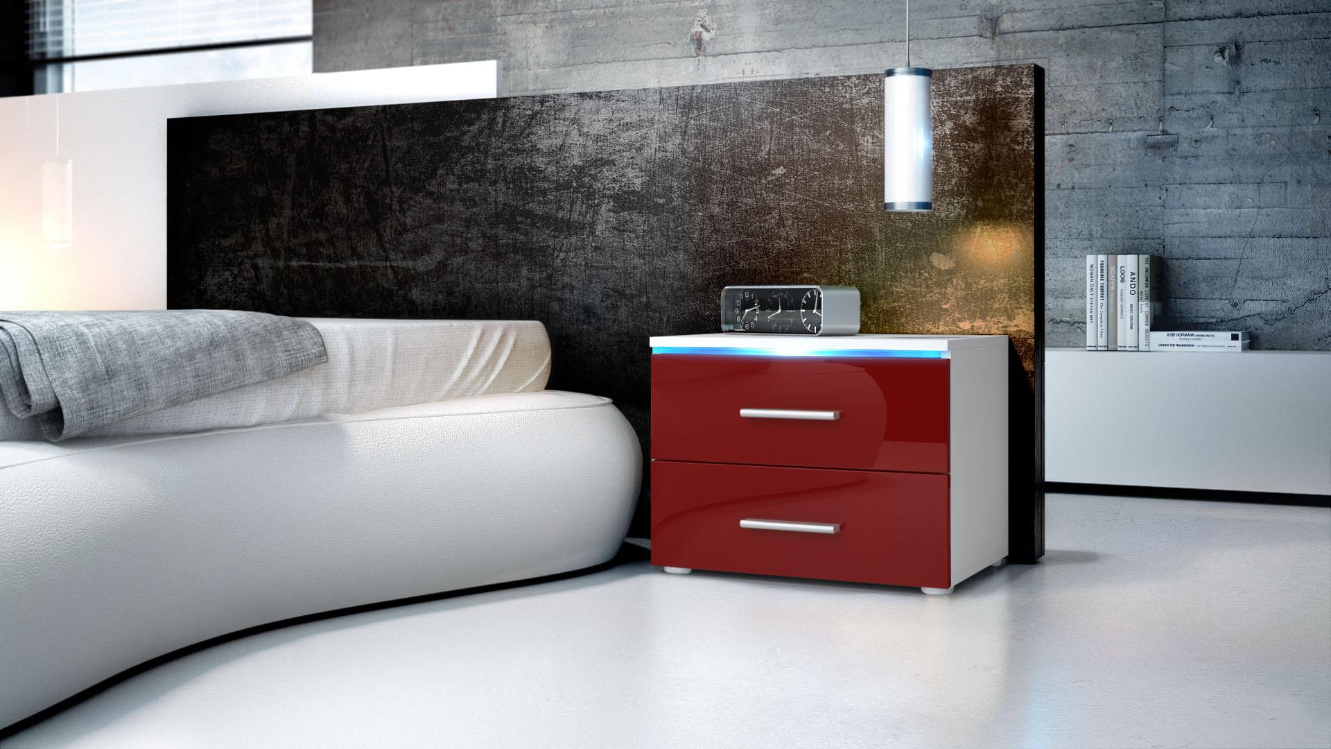nachtkonsole nachttisch kommode schrank faro in wei hochglanz naturt ne ebay. Black Bedroom Furniture Sets. Home Design Ideas