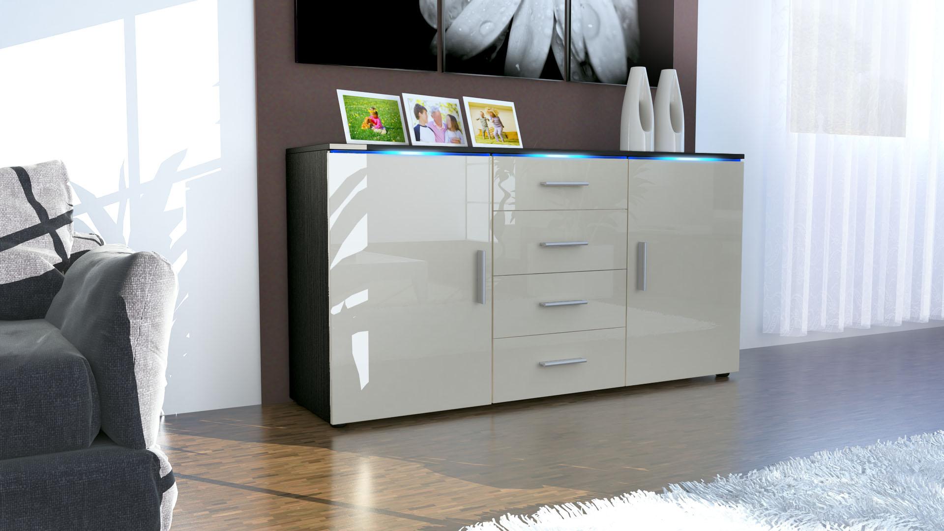 sideboard kommode anrichte highboard faro in schwarz hochglanz naturt ne ebay. Black Bedroom Furniture Sets. Home Design Ideas