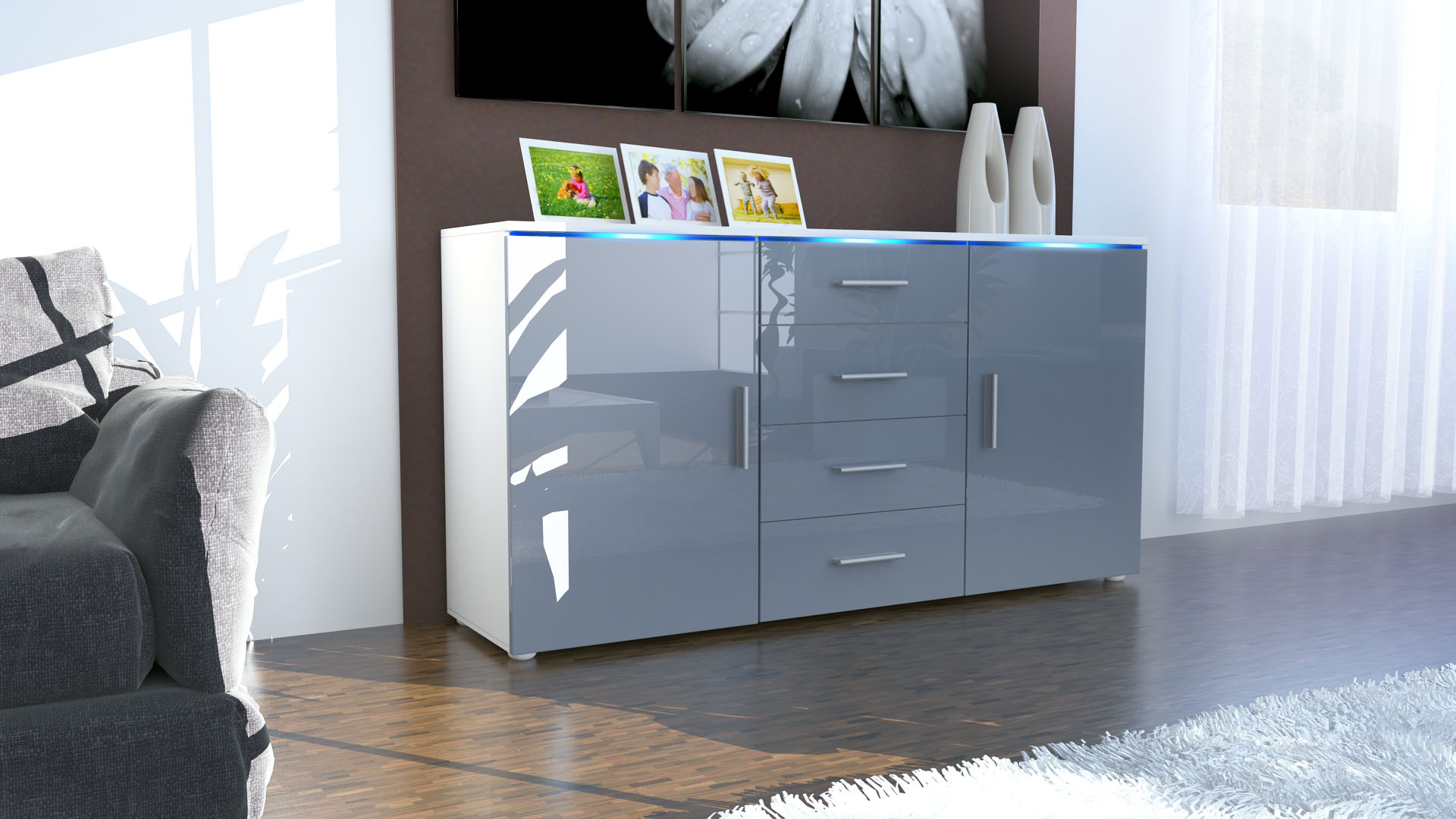 sideboard kommode anrichte kommode faro schubladen wei. Black Bedroom Furniture Sets. Home Design Ideas