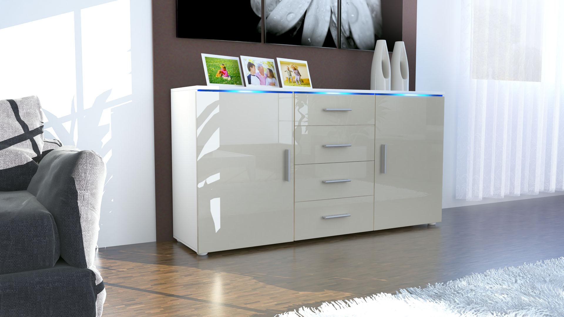 sideboard kommode anrichte kommode faro schubladen wei. Black Bedroom Furniture Sets. Home Design Ideas