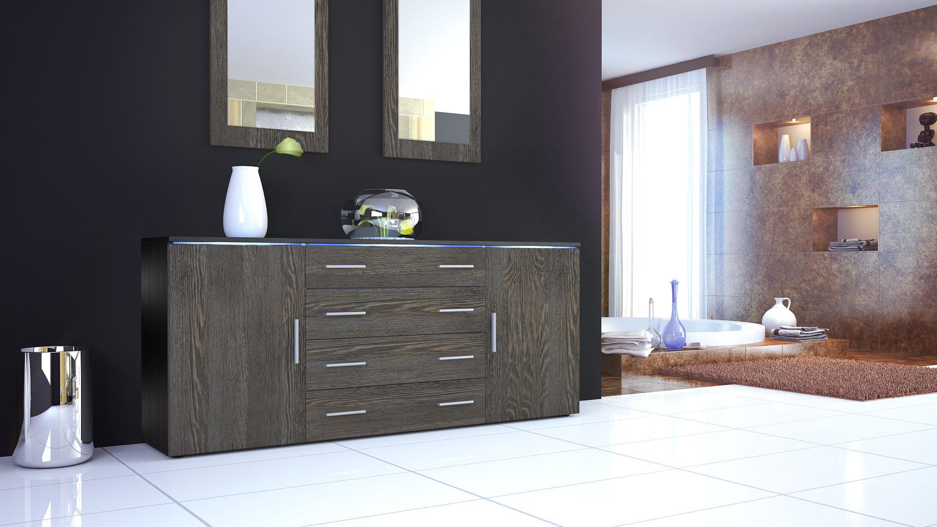 sideboard kommode highboard 170cm tv schrank anrichte faro v2 schwarz hochglanz ebay. Black Bedroom Furniture Sets. Home Design Ideas