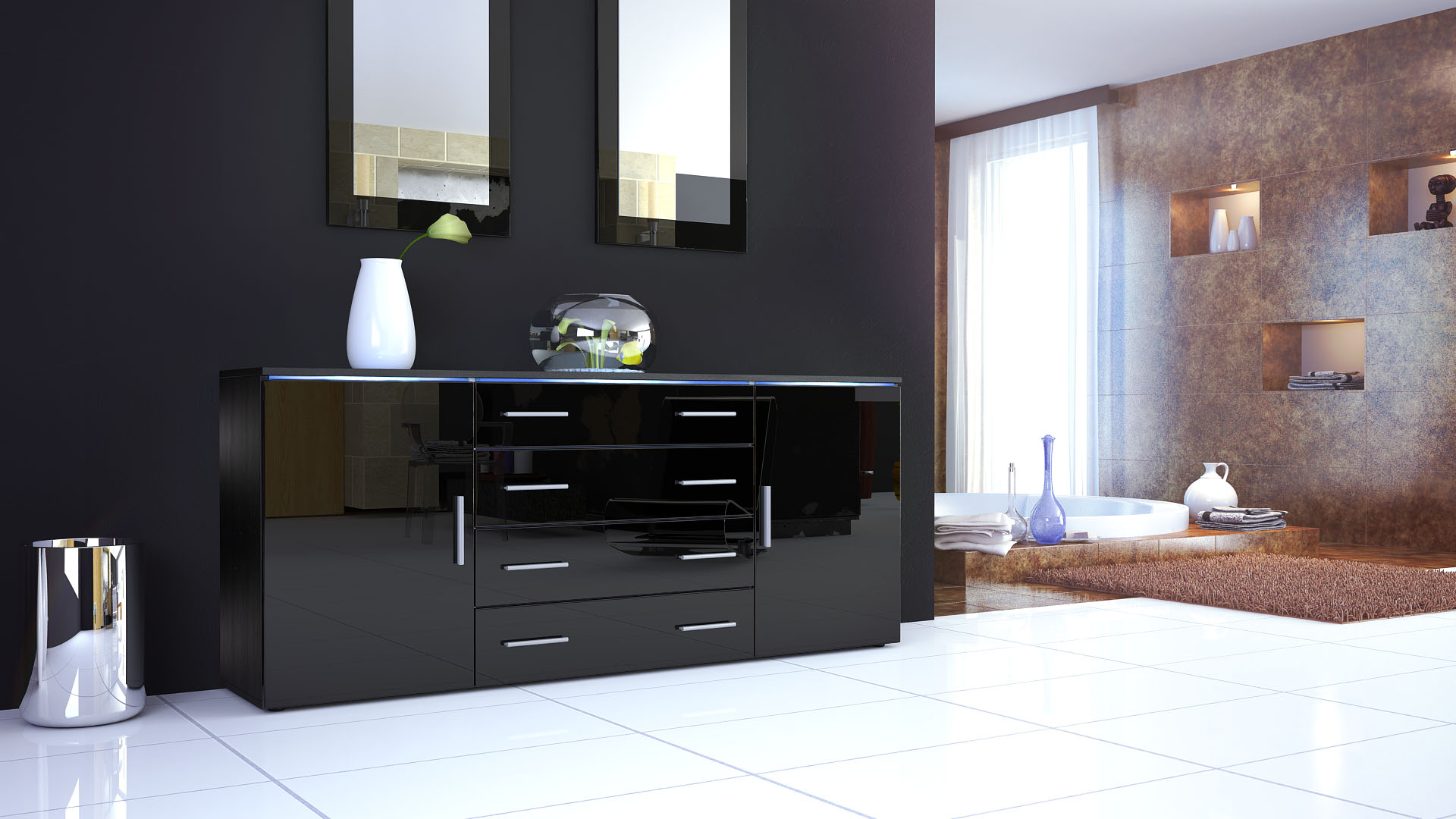 sideboard kommode highboard 170cm tv schrank anrichte faro. Black Bedroom Furniture Sets. Home Design Ideas