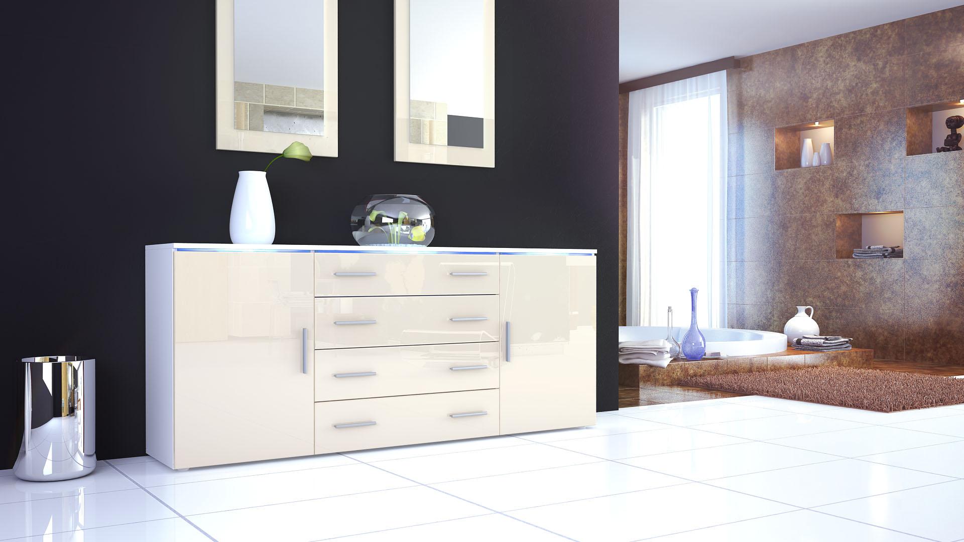 sideboard kommode highboard 170cm tv schrank anrichte faro v2 wei hochglanz ebay. Black Bedroom Furniture Sets. Home Design Ideas