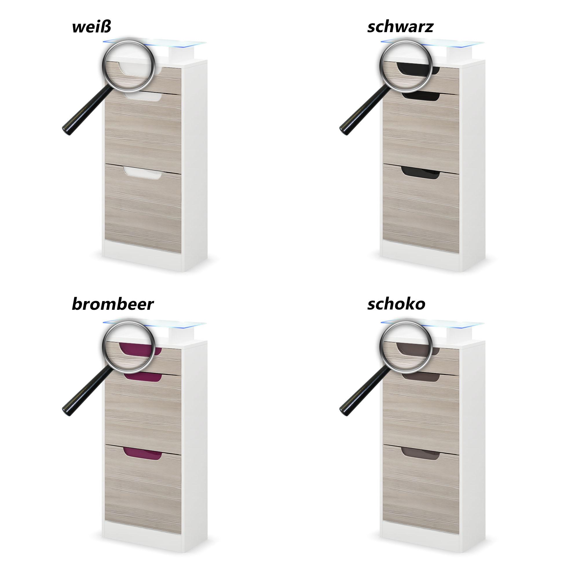 schuhschrank schuhkipper diele flur fiesta v2 in wei hochglanz naturt ne ebay. Black Bedroom Furniture Sets. Home Design Ideas