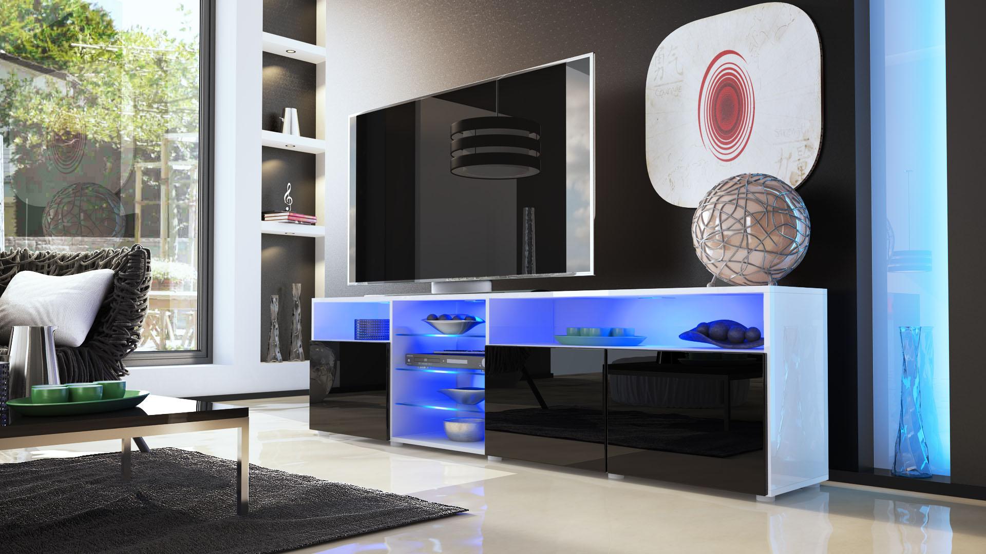 tv stand unit lowboard cabinet granada v2 white high. Black Bedroom Furniture Sets. Home Design Ideas