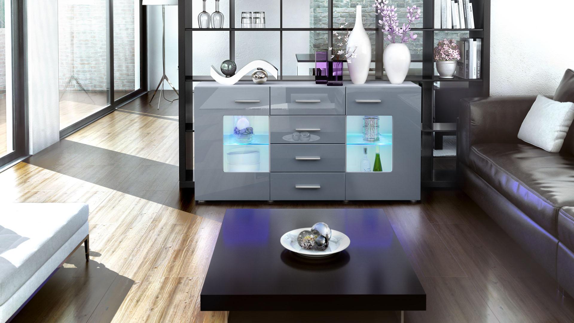 sideboard kommode anrichte tv schrank m bel schubladen gr mitz wei hochglanz ebay. Black Bedroom Furniture Sets. Home Design Ideas