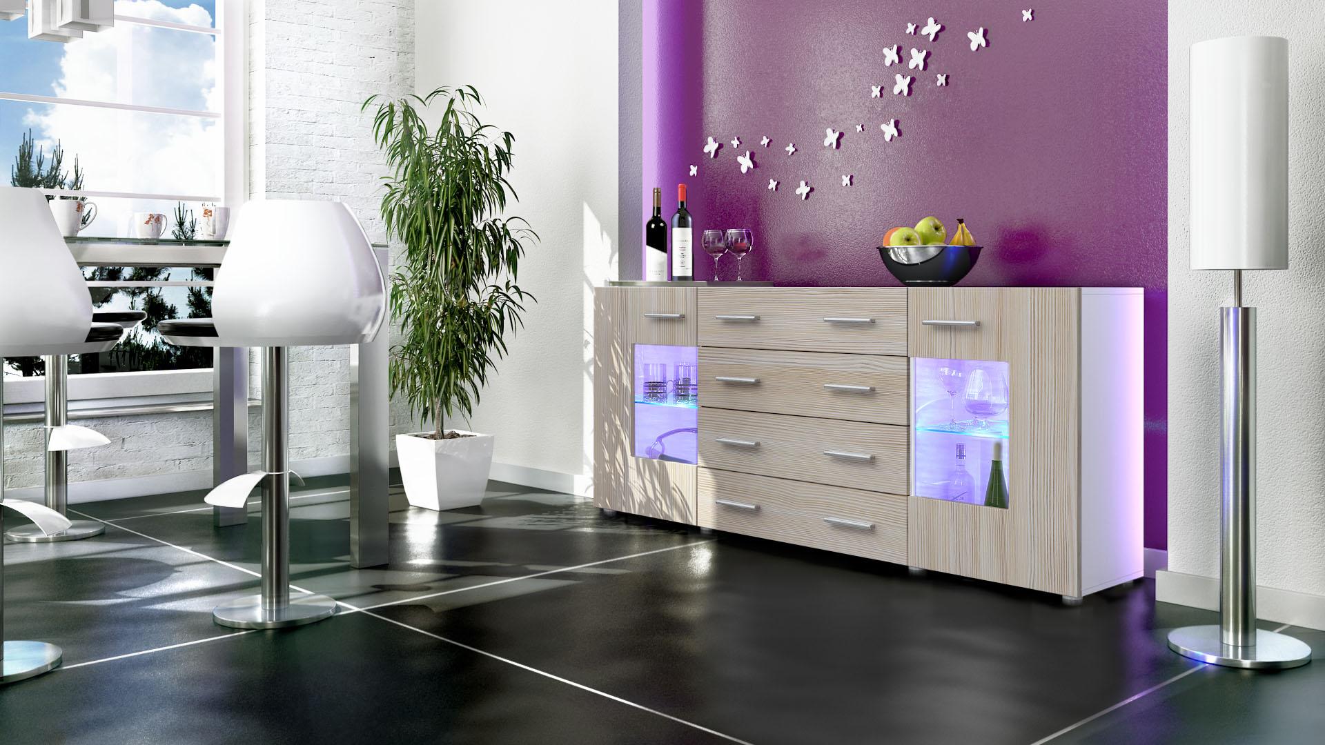 sideboard tv board anrichte kommode glas schrank m bel gr mitz v2 wei hochglanz ebay. Black Bedroom Furniture Sets. Home Design Ideas