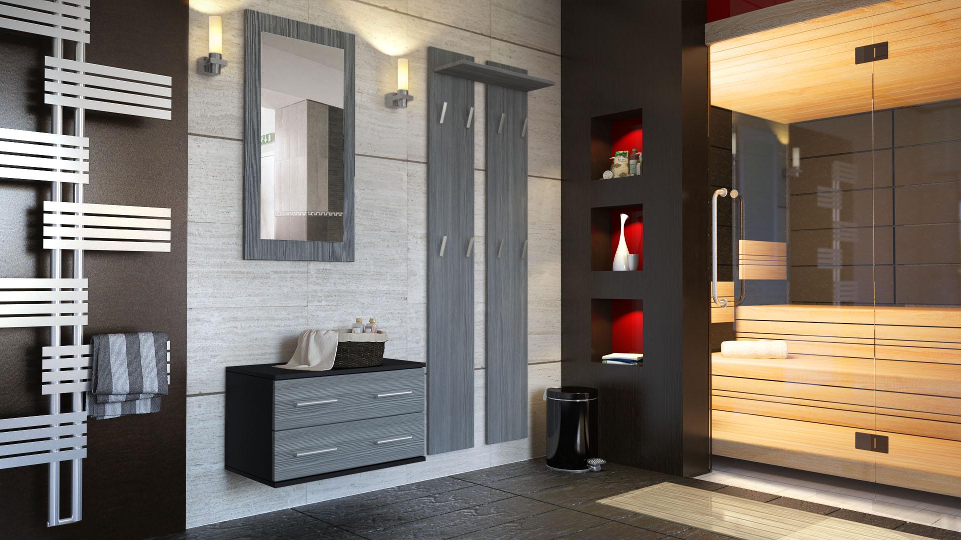 garderobenset flur garderobe set spiegel schuhschrank kioto schwarz hochglanz ebay. Black Bedroom Furniture Sets. Home Design Ideas