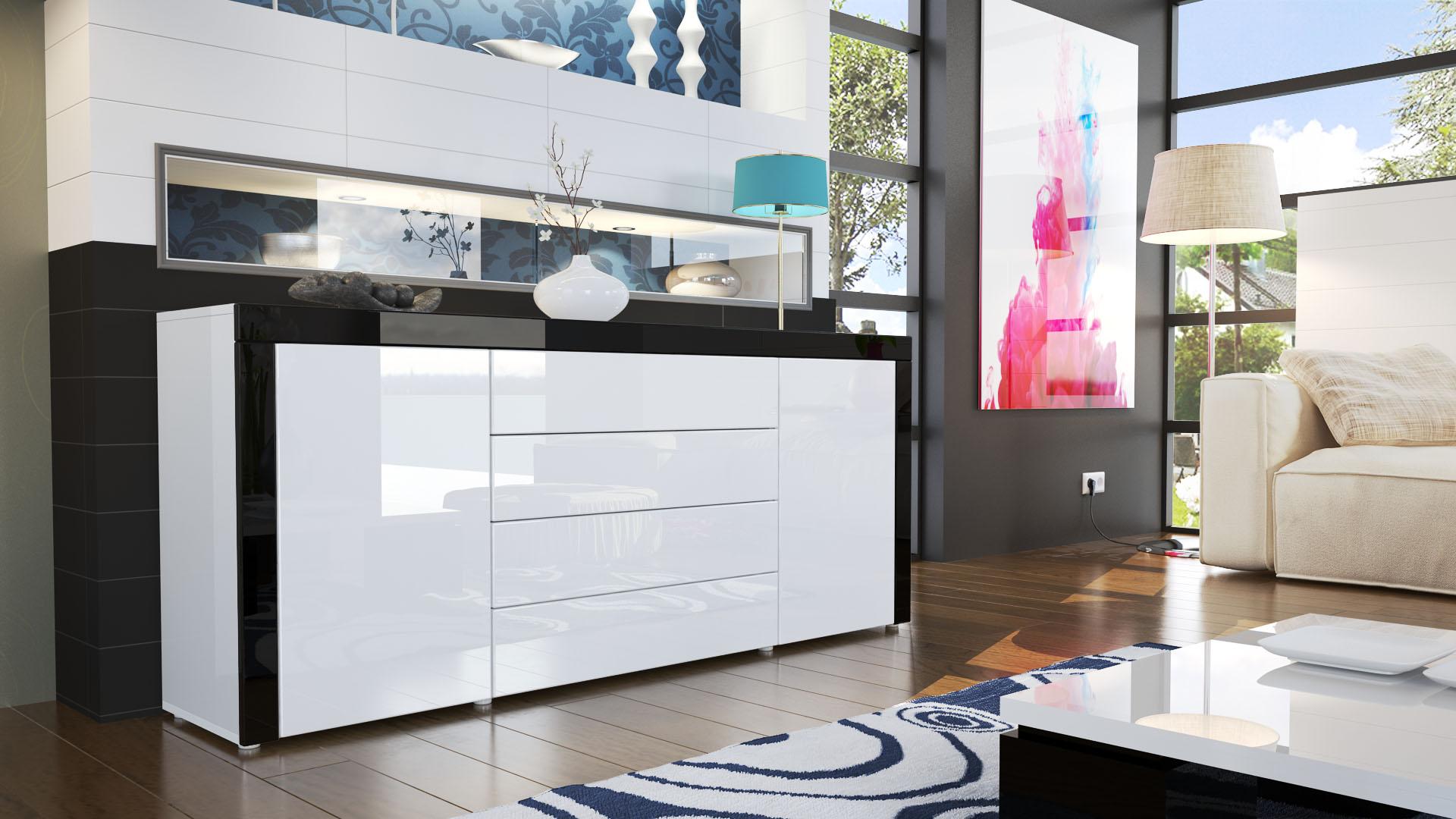sideboard kommode anrichte tv board highboard la paz wei hochglanz naturt ne ebay. Black Bedroom Furniture Sets. Home Design Ideas
