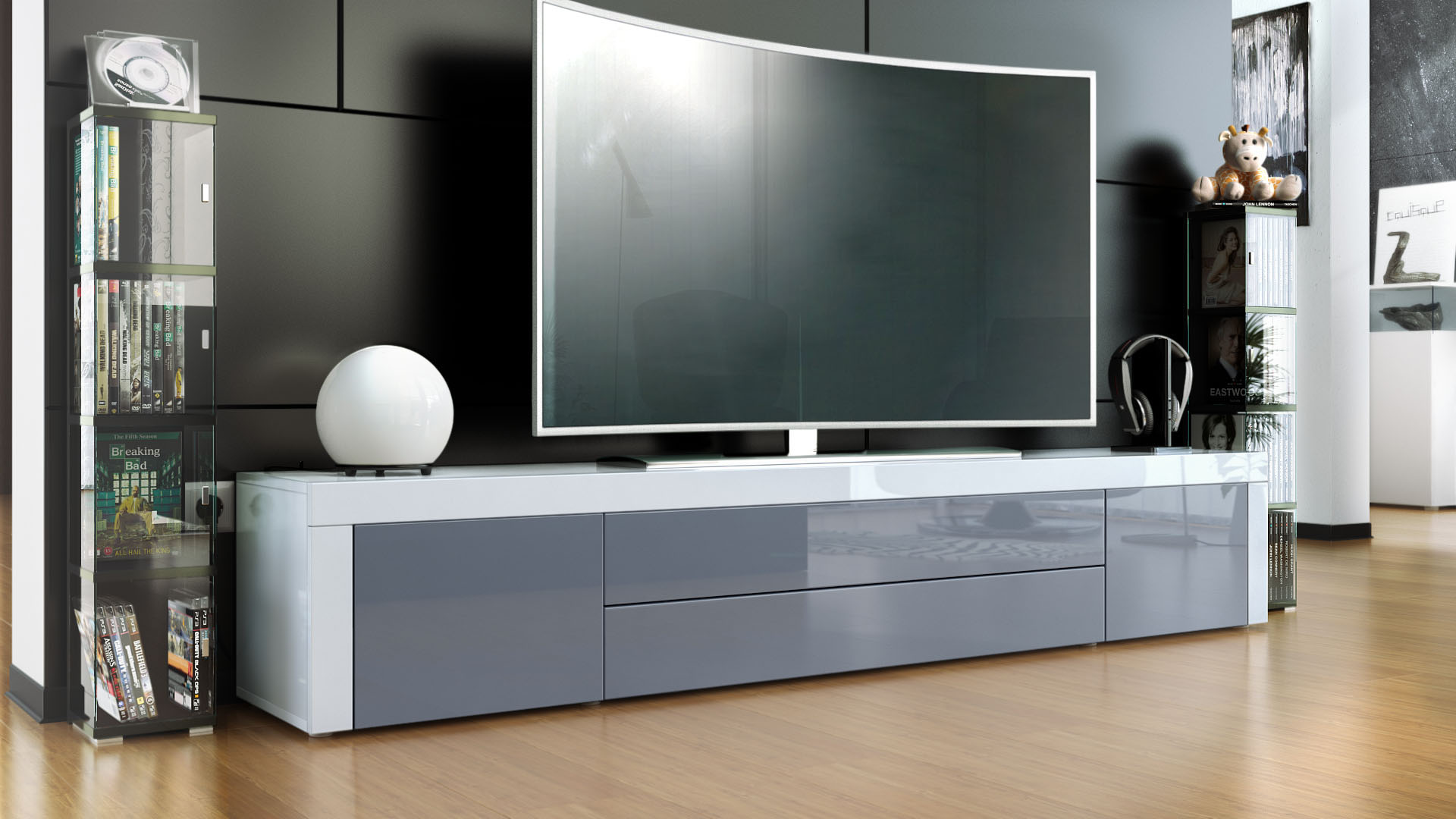 tv lowboard board schrank tisch m bel la paz in wei. Black Bedroom Furniture Sets. Home Design Ideas