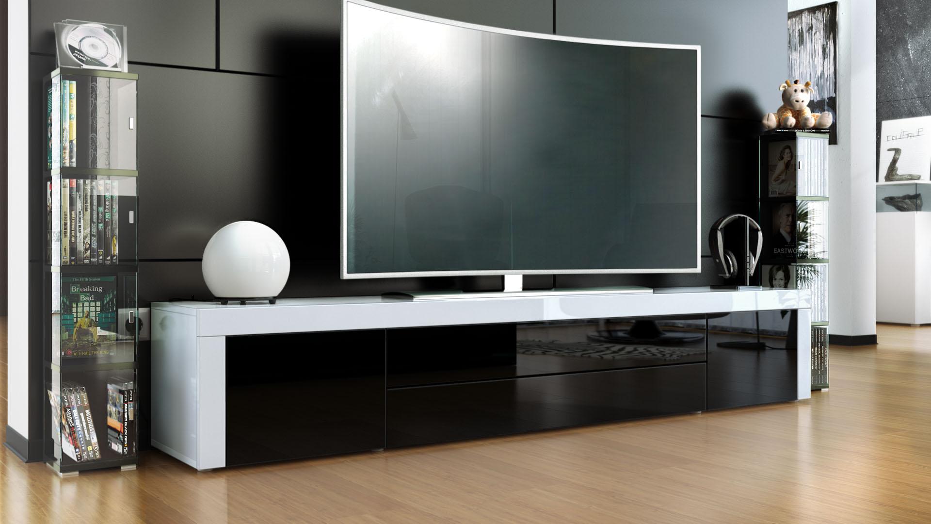 tv lowboard board schrank tisch m bel la paz in wei hochglanz naturt ne ebay. Black Bedroom Furniture Sets. Home Design Ideas