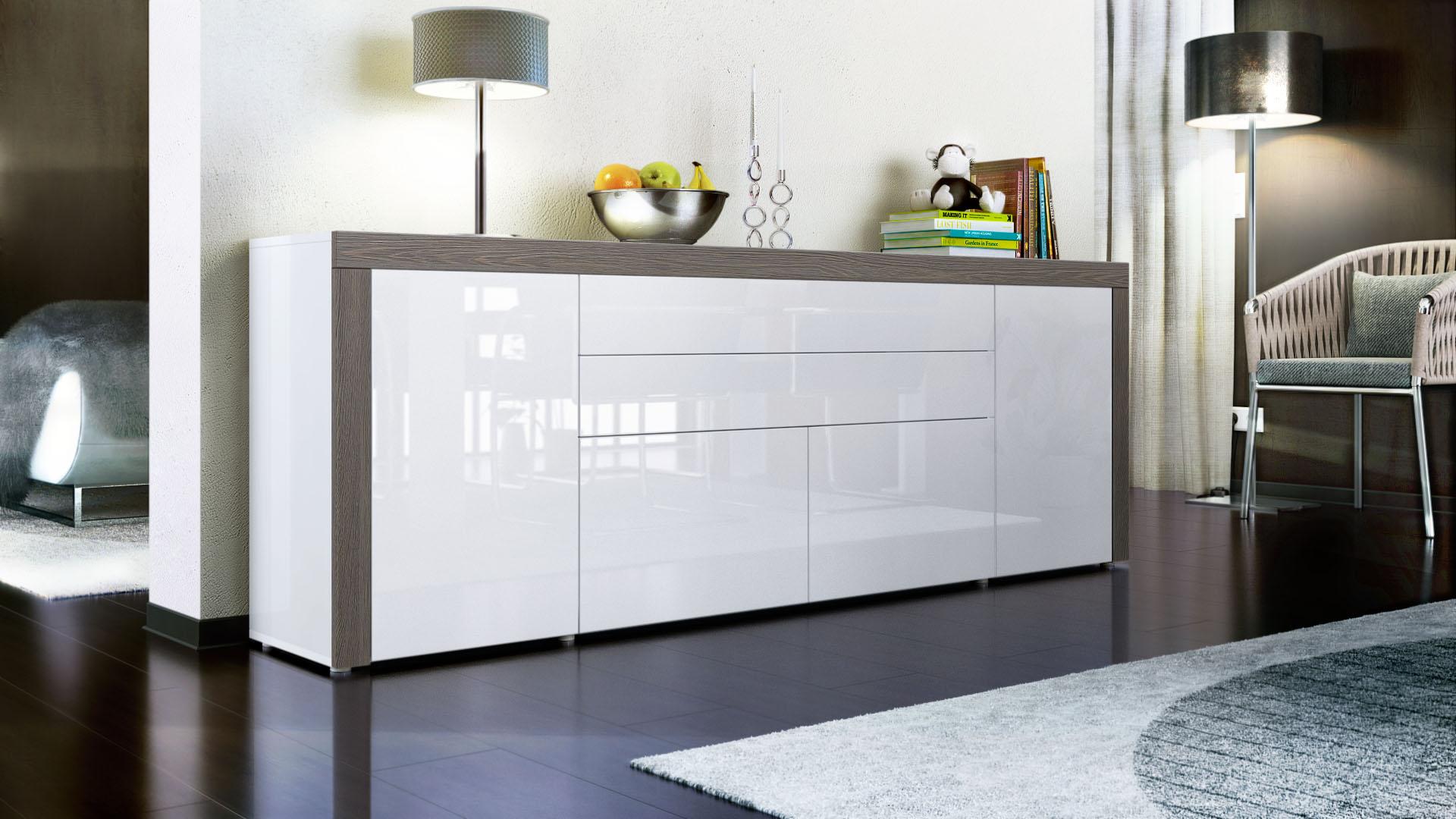sideboard kommode anrichte highboard la paz v2 in wei hochglanz naturt ne ebay. Black Bedroom Furniture Sets. Home Design Ideas