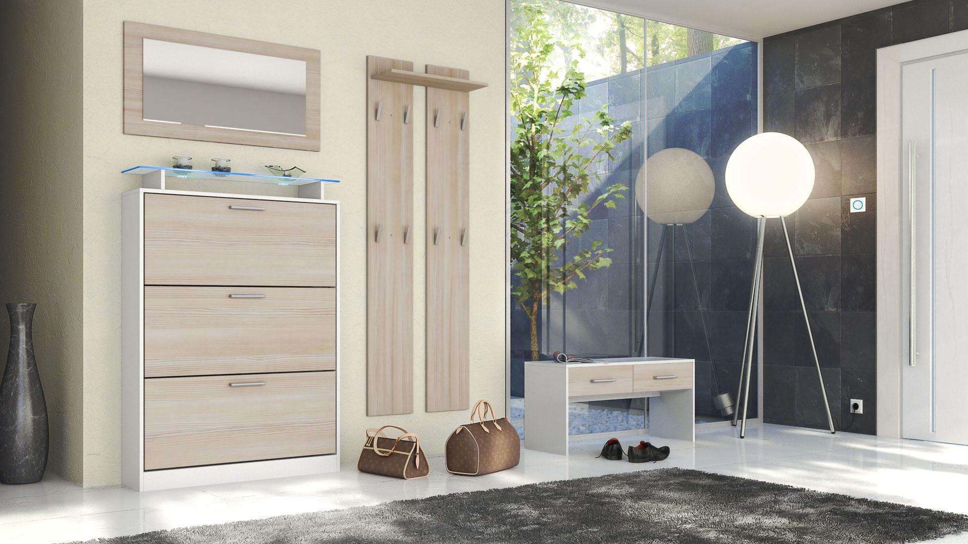 garderobenset flur garderobe diele lavia in wei. Black Bedroom Furniture Sets. Home Design Ideas