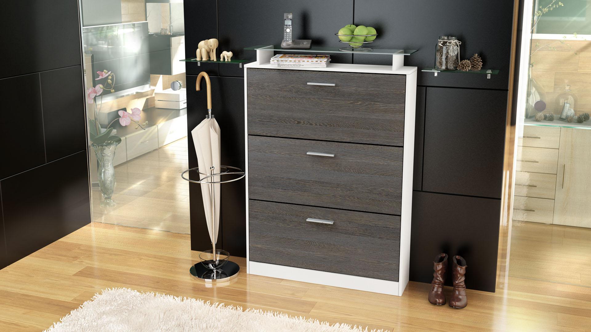 schuhschrank schuhkipper diele flur schrank lavia wei. Black Bedroom Furniture Sets. Home Design Ideas