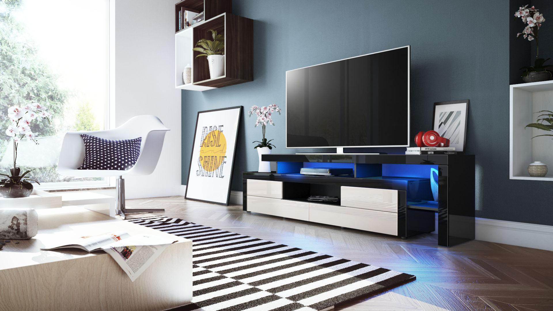 tv lowboard board schrank fernsehtisch leon in schwarz hochglanz naturt ne ebay. Black Bedroom Furniture Sets. Home Design Ideas