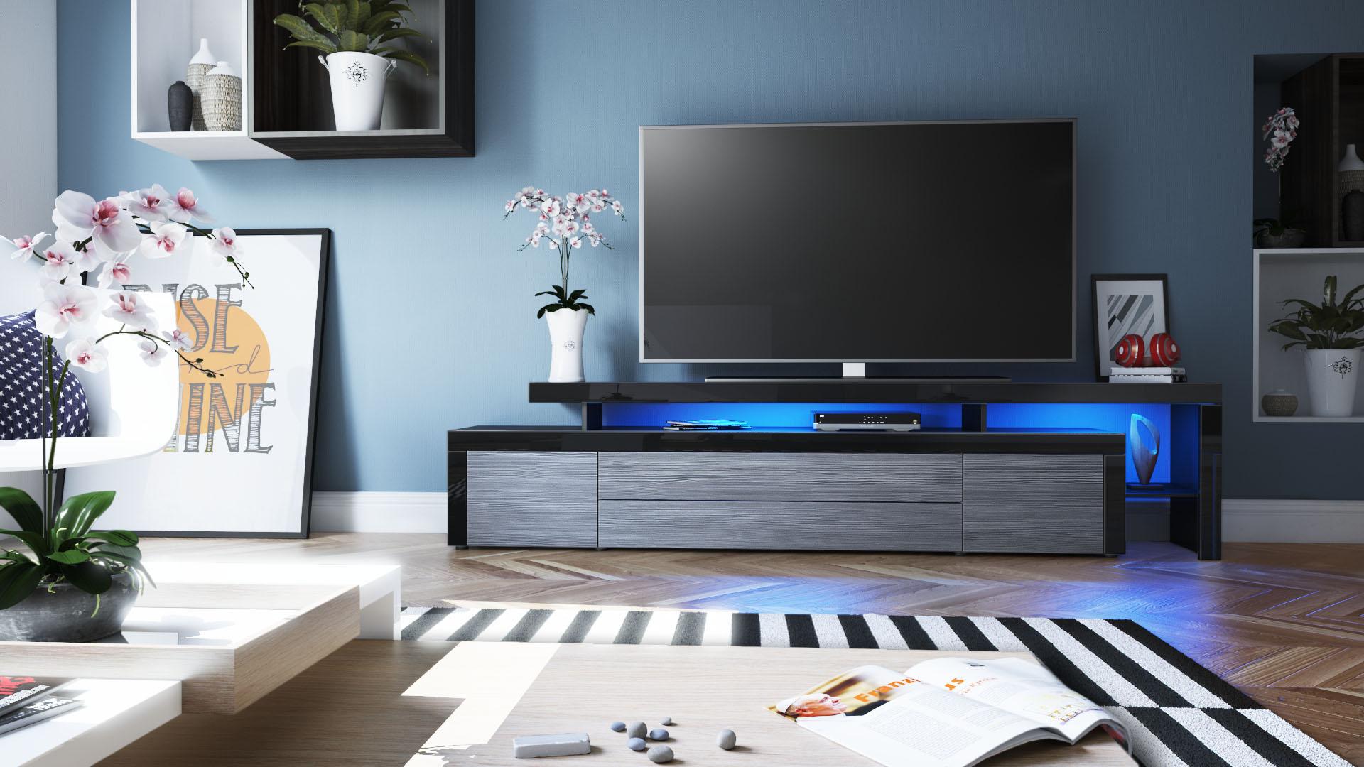 tv lowboard board schrank fernsehtisch leon v3 schwarz hochglanz naturt ne ebay. Black Bedroom Furniture Sets. Home Design Ideas