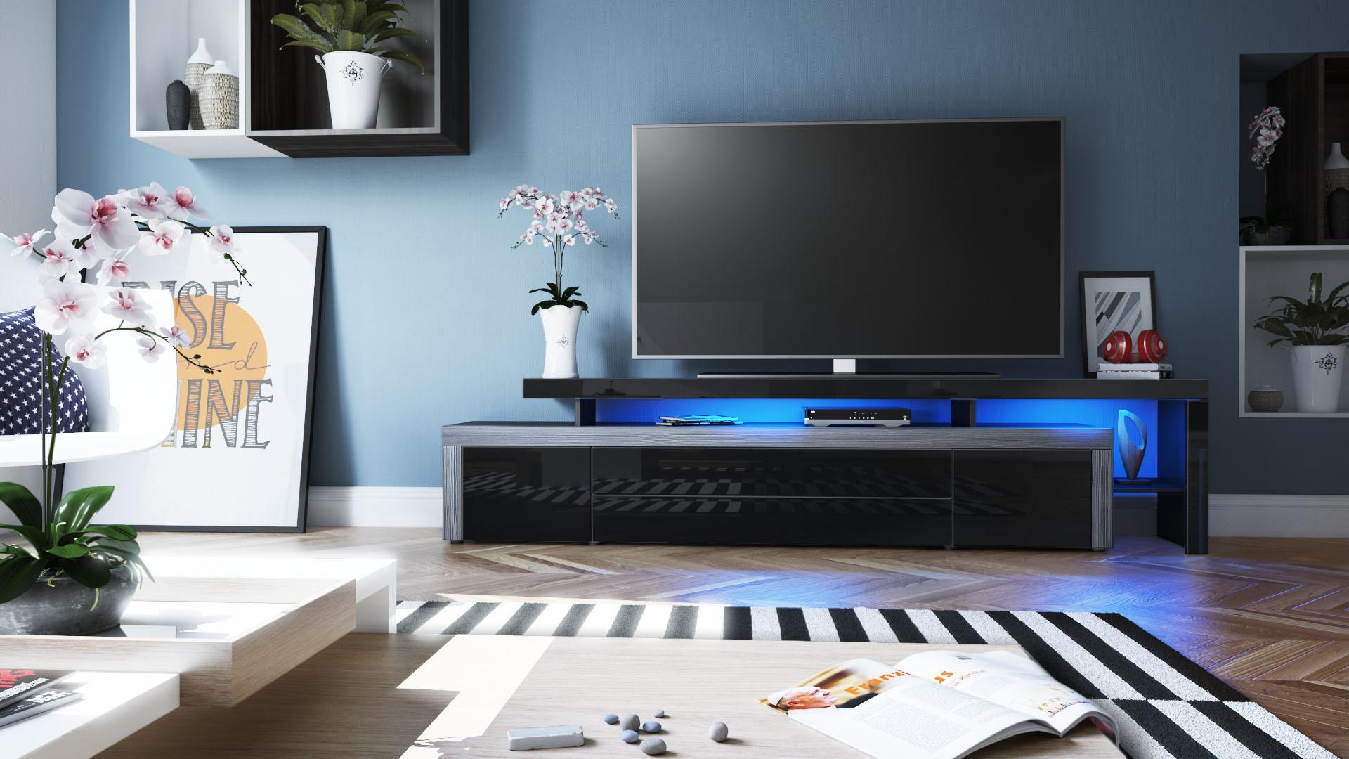 tv lowboard board schrank fernsehtisch leon v3 schwarz. Black Bedroom Furniture Sets. Home Design Ideas