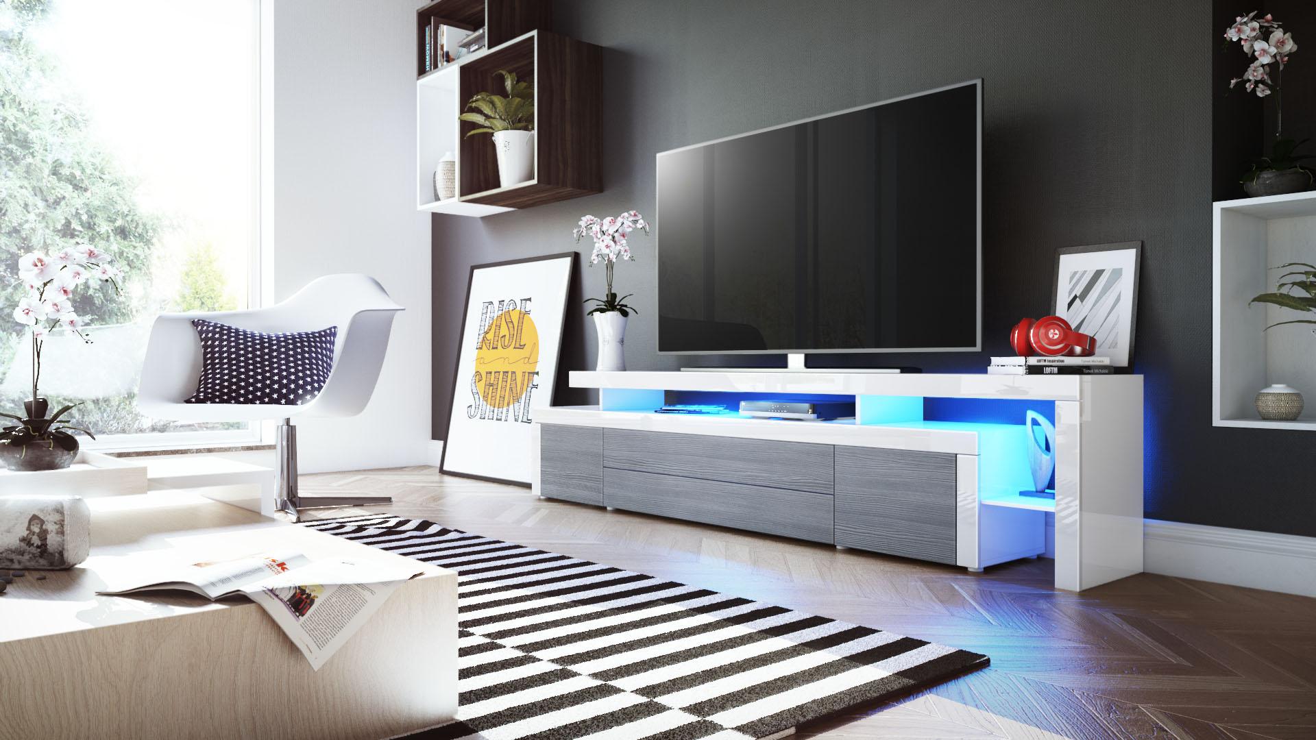 Meuble Tv Armoire Basse Leon V3 En Blanc Fa Ades En Coloris  # Meuble Tv Armoire