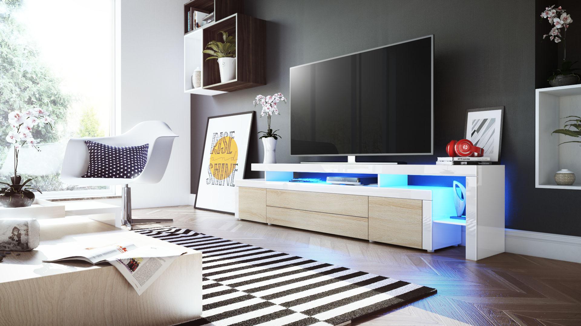 tv lowboard board schrank fernsehtisch leon v3 in wei hochglanz naturt ne ebay. Black Bedroom Furniture Sets. Home Design Ideas