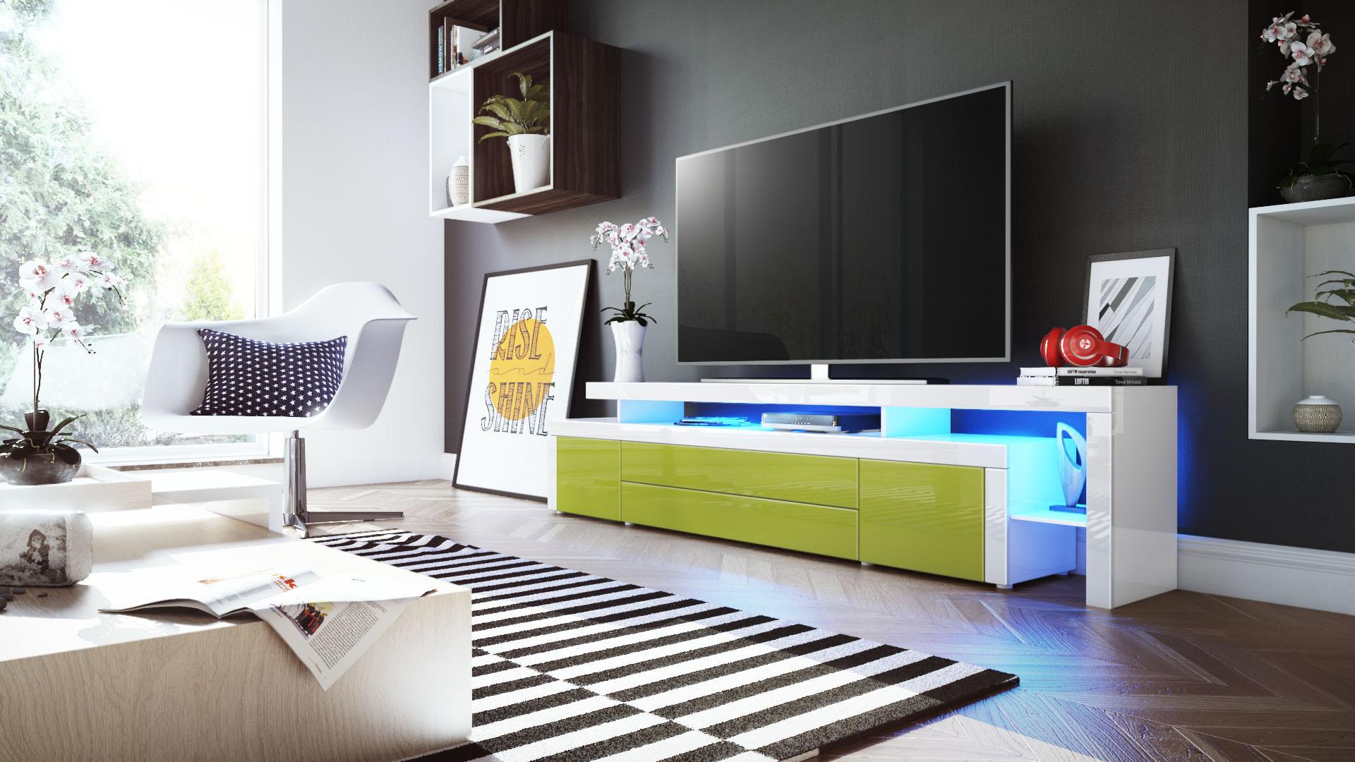 tv lowboard board schrank fernsehtisch leon v3 in wei. Black Bedroom Furniture Sets. Home Design Ideas