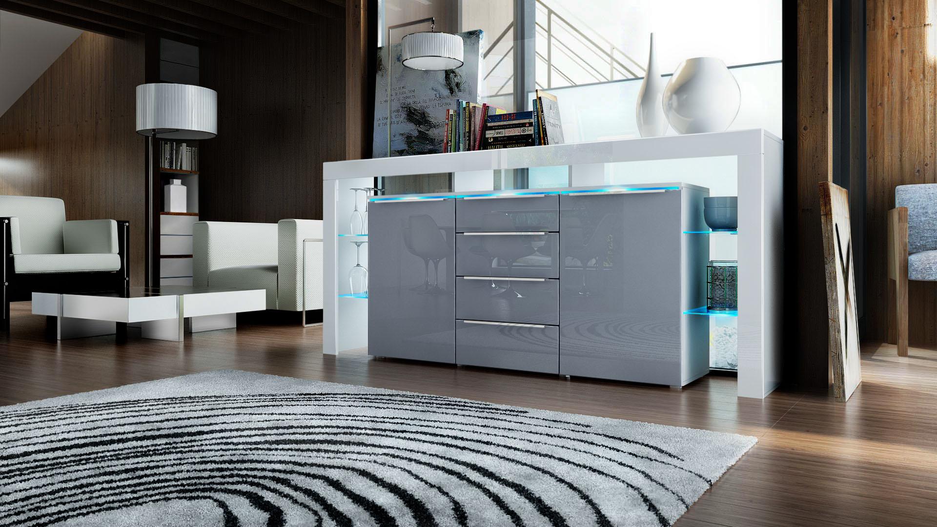 sideboard tv board anrichte kommode lima nova in wei hochglanz naturt ne ebay. Black Bedroom Furniture Sets. Home Design Ideas