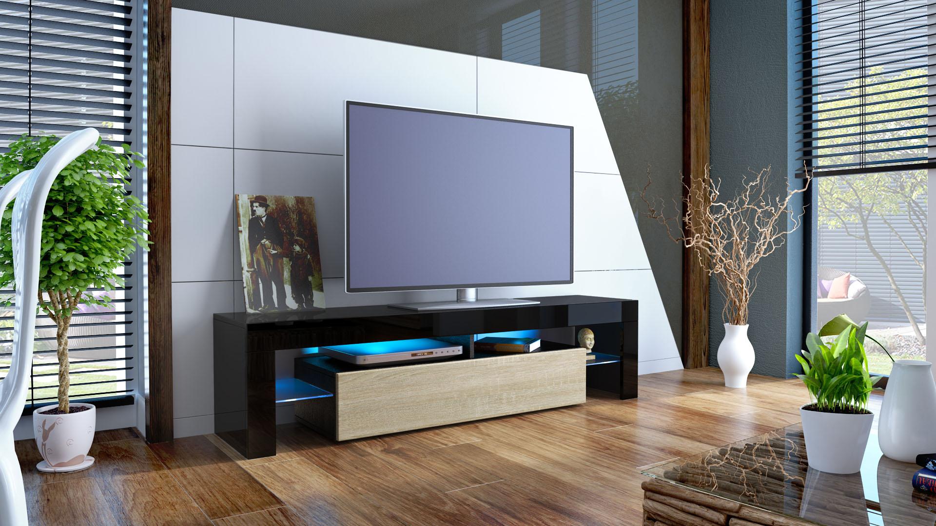 tv lowboard fernseh board schrank tisch m bel rack regal lima schwarz hochglanz ebay. Black Bedroom Furniture Sets. Home Design Ideas