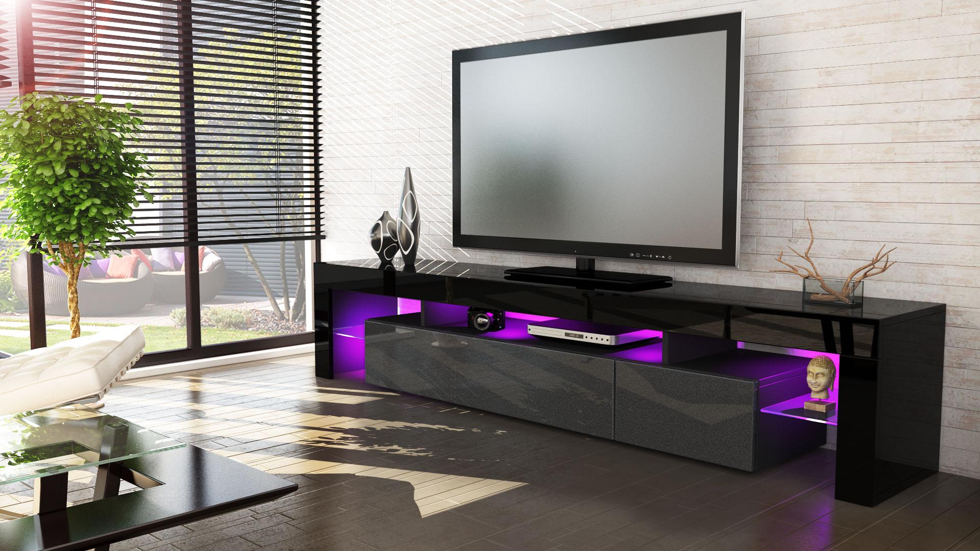 tv stand unit board lowboard cabinet lima v2 black high gloss natural tones. Black Bedroom Furniture Sets. Home Design Ideas