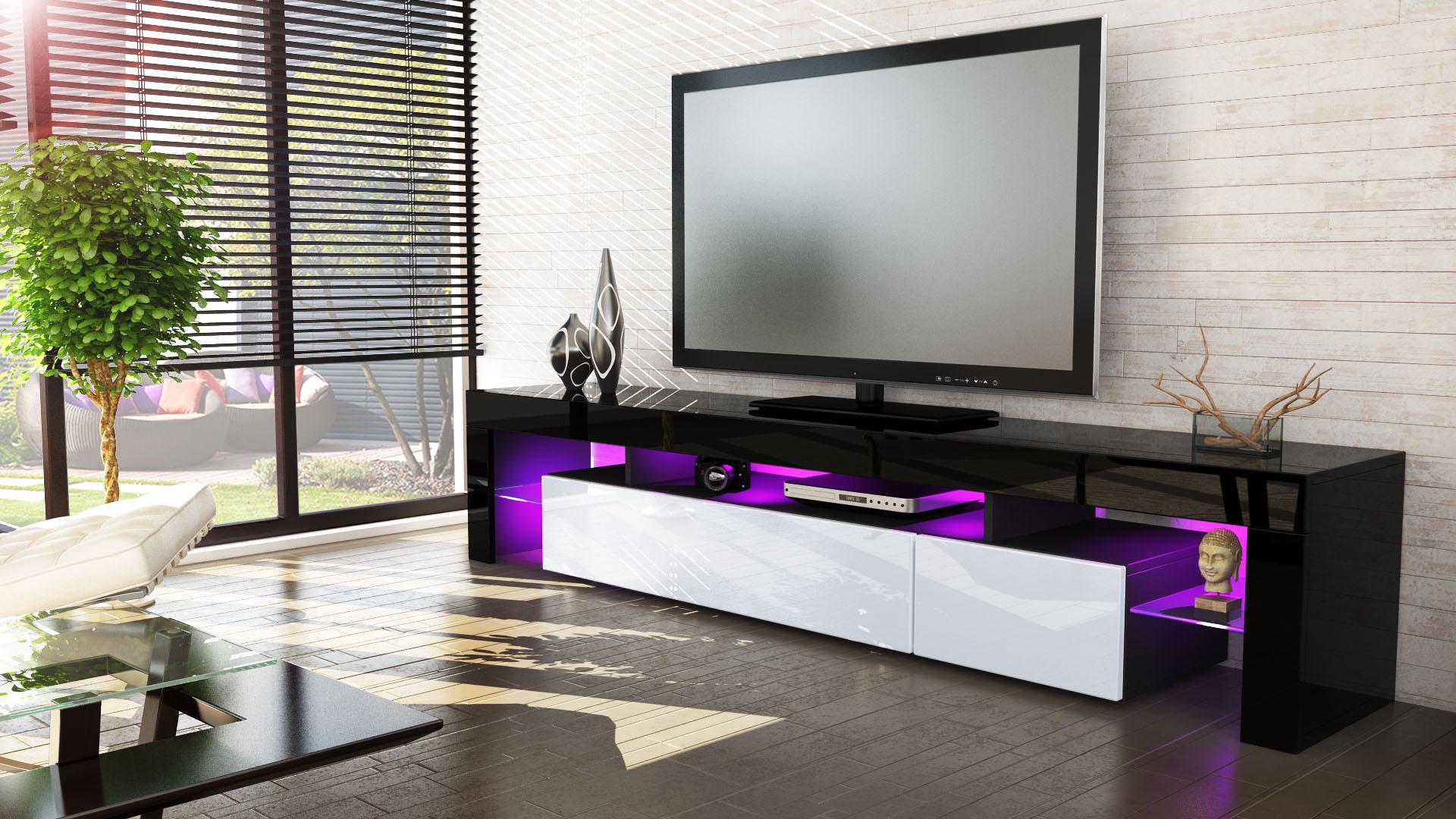 tv lowboard board schrank tisch m bel lima v2 in schwarz hochglanz naturt ne ebay. Black Bedroom Furniture Sets. Home Design Ideas